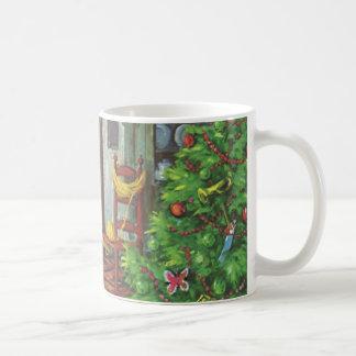 Vintage Christmas, Cozy Log Cabin Fireplace Coffee Mug