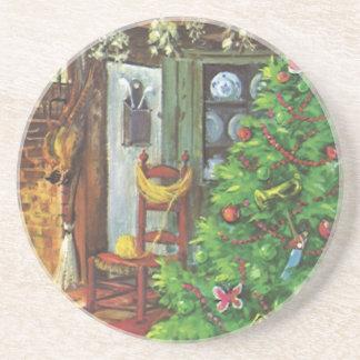 Vintage Christmas, Cozy Log Cabin Fireplace Drink Coaster