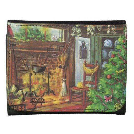 Vintage Christmas, Cozy Log Cabin Fireplace Leather Tri-fold Wallet