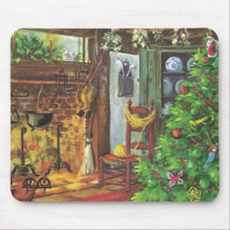 Vintage Christmas, Cozy Log Cabin Fireplace Mouse Pad