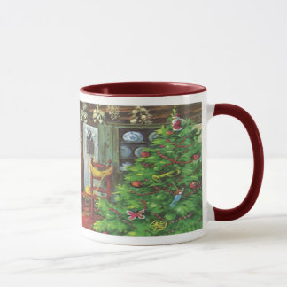 Vintage Christmas, Cozy Log Cabin Fireplace Mug