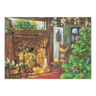 Vintage Christmas, Cozy Log Cabin with Fireplace Card