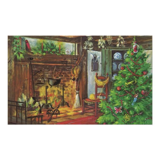 Vintage Christmas, Cozy Log Cabin with Fireplace Poster