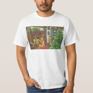 Vintage Christmas, Cozy Log Cabin with Fireplace T-Shirt