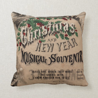 Vintage Christmas cushion, musical theatre poster Throw Pillow