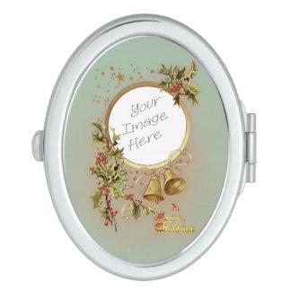Vintage Christmas Customizable Photo Template Makeup Mirror