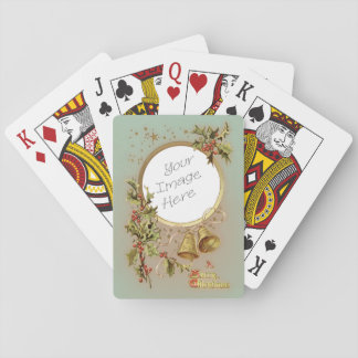 Vintage Christmas Customizable Photo Template Playing Cards