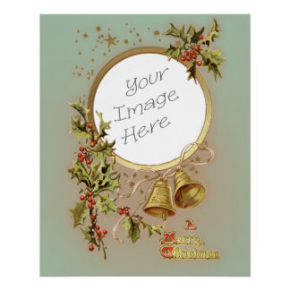 Vintage Christmas Customizable Photo Template Poster