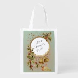 Vintage Christmas Customizable Photo Template Reusable Grocery Bag
