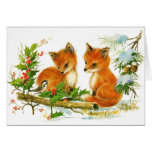 Vintage christmas cute fox cubs blank holiday card