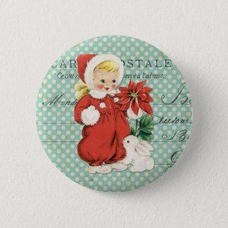 Vintage Christmas Cute Girl Poinsettia Mint Dots Button