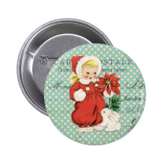 Vintage Christmas Cute Girl Poinsettia Mint Dots Pinback Buttons