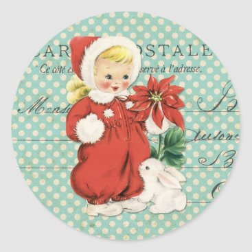 Christmas Themed Vintage Christmas Cute Girl Poinsettia Mint Dots Classic Round Sticker