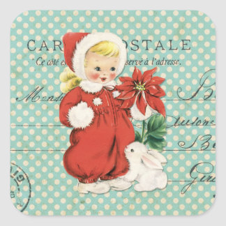 Vintage Christmas Cute Girl Poinsettia Mint Dots Square Sticker