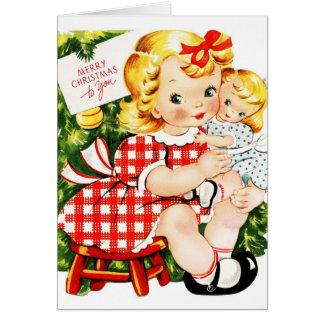 Vintage Christmas Cute Girls Card
