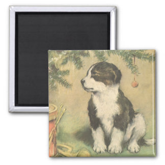 Vintage Christmas, Cute Pet Puppy Dog 2 Inch Square Magnet
