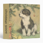 Vintage Christmas, Cute Pet Puppy Dog 3 Ring Binder