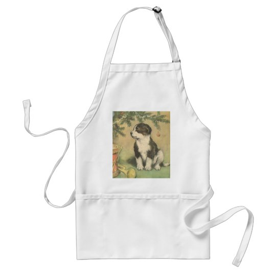 Vintage Christmas, Cute Pet Puppy Dog Adult Apron