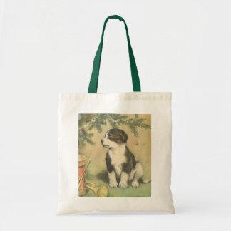 Vintage Christmas, Cute Pet Puppy Dog Budget Tote Bag