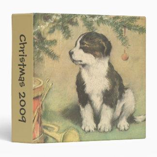 Vintage Christmas, Cute Pet Puppy Dog 3 Ring Binder