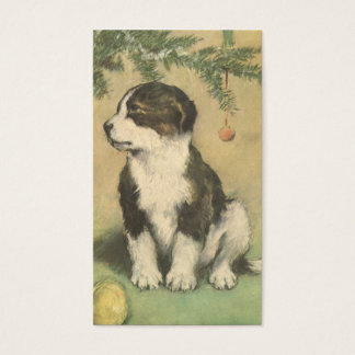 Vintage Christmas, Cute Pet Puppy Dog Business Card