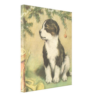 Vintage Christmas, Cute Pet Puppy Dog Canvas Print