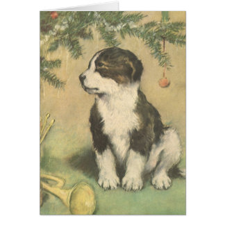Vintage Christmas, Cute Pet Puppy Dog Greeting Card