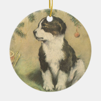 Vintage Christmas, Cute Pet Puppy Dog Double-Sided Ceramic Round Christmas Ornament