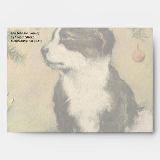 Vintage Christmas, Cute Pet Puppy Dog Envelope