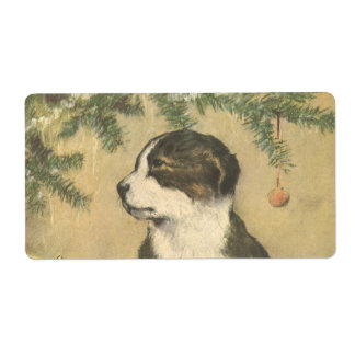 Vintage Christmas, Cute Pet Puppy Dog Shipping Label