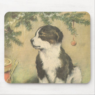 Vintage Christmas, Cute Pet Puppy Dog Mouse Pad