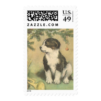 Vintage Christmas, Cute Pet Puppy Dog Stamps