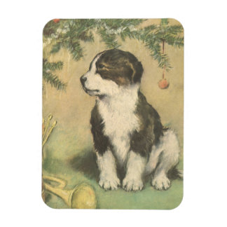 Vintage Christmas, Cute Pet Puppy Dog Rectangular Photo Magnet