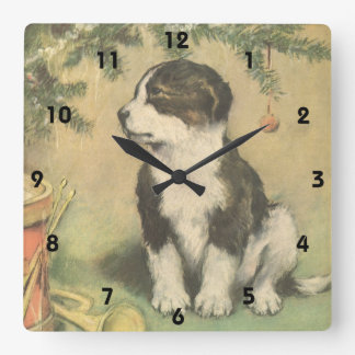 Vintage Christmas, Cute Pet Puppy Dog Square Wallclock