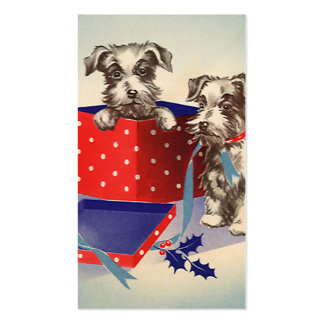 Vintage Christmas Cute Puppies Wrapped as Presents Business Card