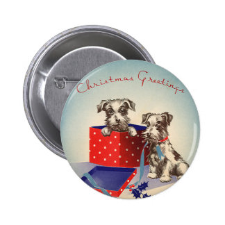Vintage Christmas Cute Puppies Wrapped as Presents Button