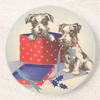Vintage Christmas Cute Puppies Wrapped as Presents Drink Coaster
