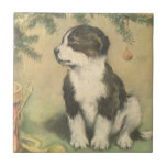 Vintage Christmas, Cute Puppy Dog Ceramic Tile