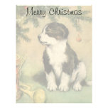 Vintage Christmas, Cute Puppy Dog Personalized Letterhead