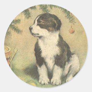 Vintage Christmas, Cute Puppy Dog Sticker