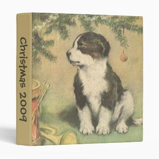 Vintage Christmas, Cute Puppy Under Christmas Tree 3 Ring Binder