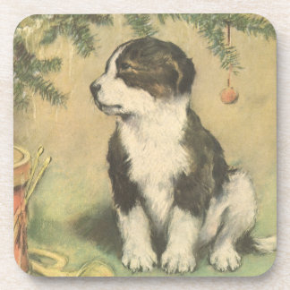Vintage Christmas, Cute Puppy Under Christmas Tree Beverage Coaster