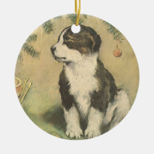 Vintage Christmas, Cute Puppy Under Christmas Tree Ceramic Ornament