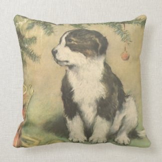 Vintage Christmas, Cute Puppy Under Christmas Tree Pillows