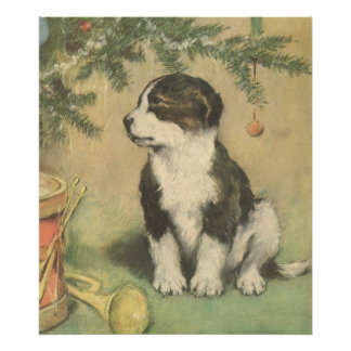 Vintage Christmas, Cute Puppy Under Christmas Tree Poster
