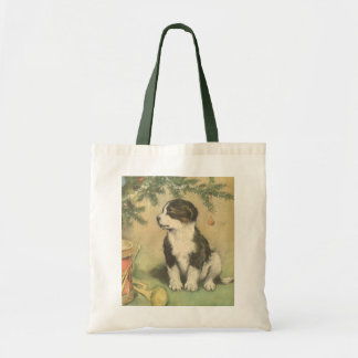 Vintage Christmas, Cute Puppy Under Christmas Tree Tote Bag