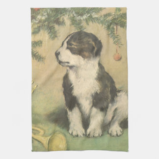 Vintage Christmas, Cute Puppy Under Christmas Tree Towel