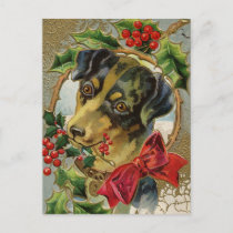 Vintage Christmas, Dachshund Puppy Dog with Holly Holiday Postcard
