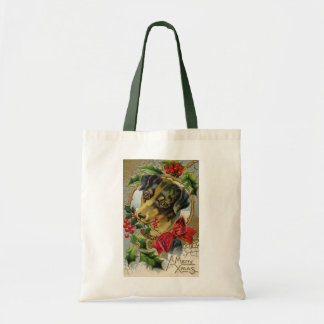 Vintage Christmas, Dachshund Puppy Dog with Holly Tote Bag