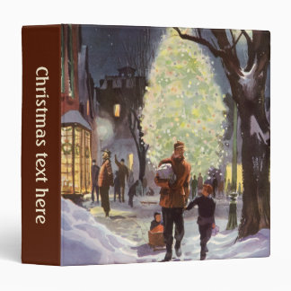Vintage Christmas, Dad Shopping with the Kids Vinyl Binder